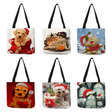 Fashion Women Girls Tote Bag Christmas Animal Dogs Cats Pattern Handbags Eco Linen Reusable Shopping Bags Shoulder Bags Gift