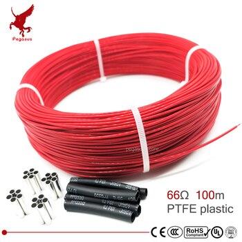 66ohm 100m mehrzweck 6k PTFE carbon faser heizung kabel 5 V-220 V boden heizung hohe qualität infrarot heizung draht warmen boden