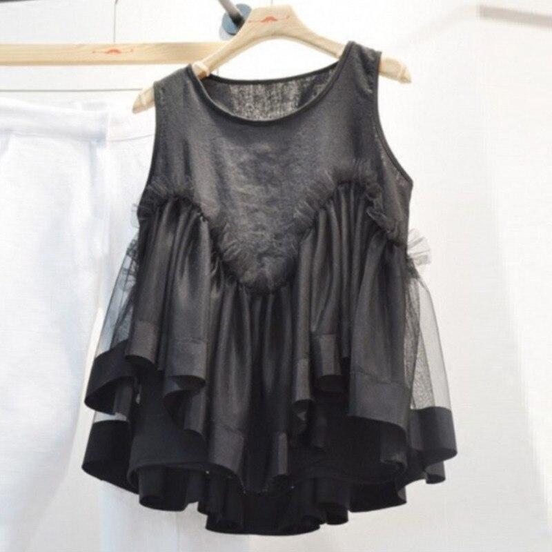 LANMREM 2020 New Summer Fashion Women Clothing Round Neck Sleeveless Mesh Pullover Loose T Shirt Sweet Top WL04001XL