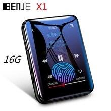 Benjie mp3 player bluetooth, mini, 16gb/32gb, 1.8 polegadas, touch screen, portátil, de música, vídeo player com fones de ouvido com fio de presente grátis