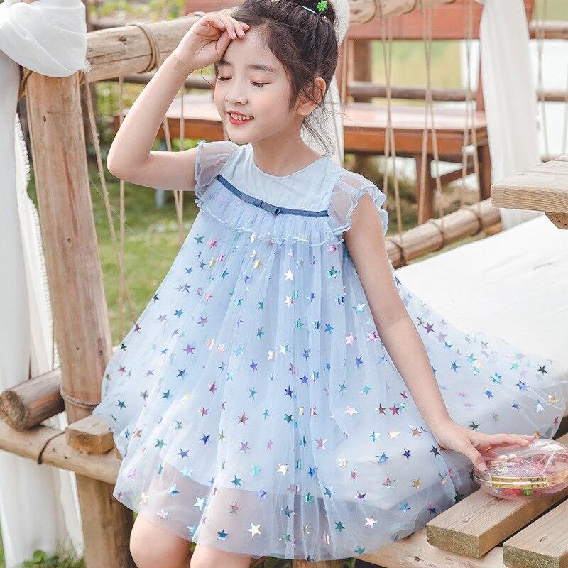 2020 Summer Baby Girls Dress Fashion Children's Wear Girls Cute Sleeveless Stars Princess Mesh Frocks Kids Clothing For Party 3