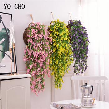 YO CHO Artificial Flower Vine Hanging Garland Plant Fake Lavender White Green Plant Twigs Hanging Vine Home Garden Wedding Decor 5pcs best seller mist lavender plastic artificial flower plastic fake flower plant home garden decor shop window wedding wall