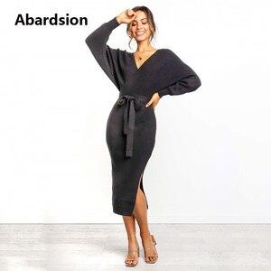 Image 3 - Abardsion Frauen Gestrickte Pullover Kleid Wrap Belted Tunika Midi Vestidos Langarm Doppel V Neck Split Casual Herbst Kleider 2019