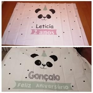 Image 2 - Yeele Cartoon Panda Polka Dots Baby Birthday Party Backgrounds For Photography Customized Photographic Backdrop for Photo Studio
