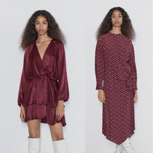ZA 2019 Fashion Vintage Red Plaid Printing Dress Women Autumn Trendy Bohomian Loose Solid Long Sleeve Sexy Dress Fall Clothing(China)