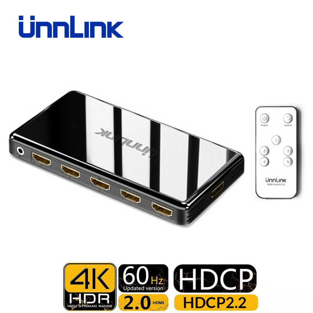Unnlink HDMI Switch 3x1 5x1 HDMI 2,0 UHD 4K @ 60Hz 4:4:4 HDCP 2,2 HDR für Smart LED TV MI Box3 PS3 PS4 Pro Projektor