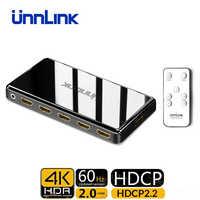 Unnlink hdmi switch 3x1 5x1 hdmi 2.0 uhd 4k @ 60 hz 4:4:4 hdcp 2.2 hdr para smart led tv mi box3 ps4 pro projetor