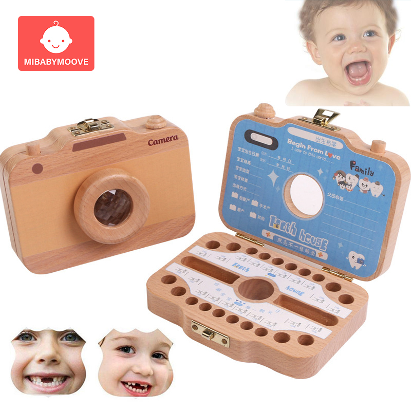English Baby Milk Teeth Box Wooden Children Baby Tooth Box Organizer Kids Girl Boy Umbilical Lanugo Keepsakes Souvenirs Gifts