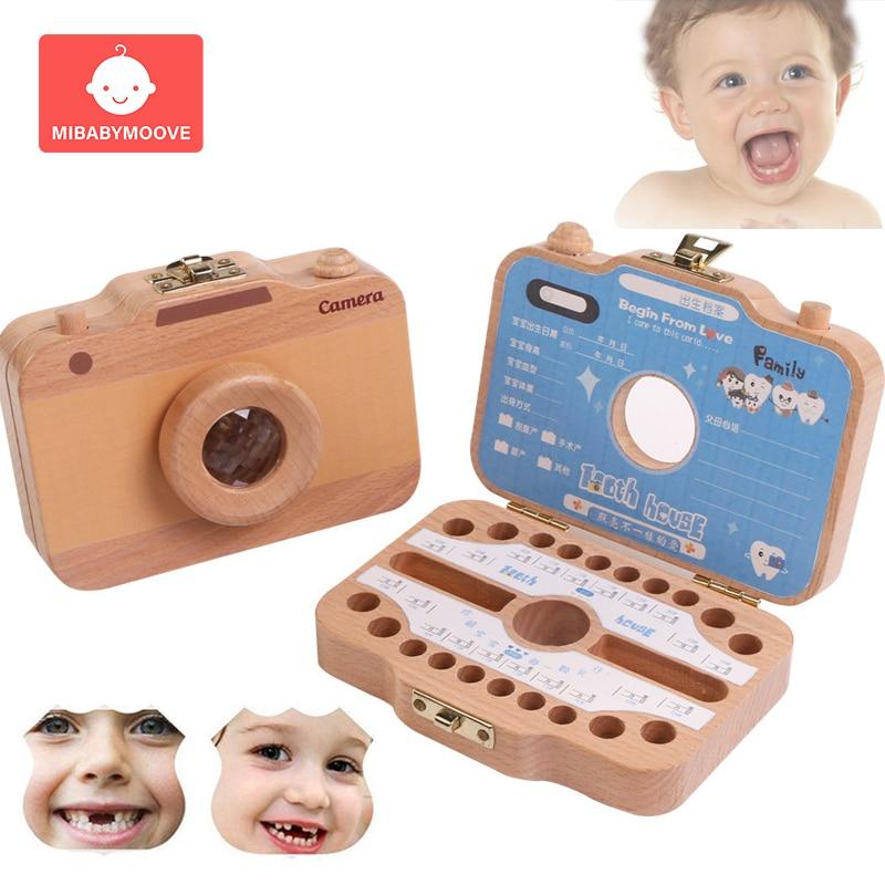 English Baby Milk Teeth Box Wooden Children Baby Tooth Box Organizer Kids Girl Boy Umbilical Lanugo Keepsakes Souvenirs Gifts