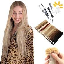 MRSHAIR на кератиновых пластинах, предварительно скрепленные Пряди человеческих волос для наращивания с наборы с креплением на кератиновых пл...