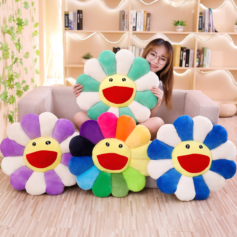 1pc Smile Face Sun Flower Plush Toy Stuffed Doll Cushion Pillow Home Bedroom Sofa Soft Decor Girl Birthday Gift