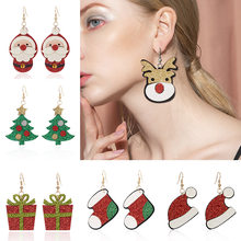 Hot Selling Christmas Earrings Cartoon Christmas Tree Sock Hat Gift Box Santa Claus Christmas Felt Cloth Series Ear Hook Earring(China)