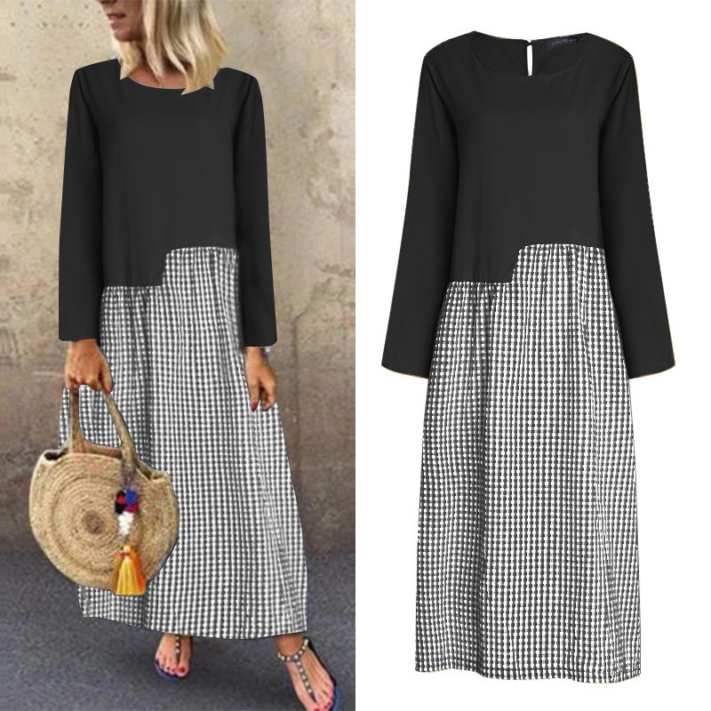 ZANZEA Women Casual Long Maxi Dress Cotton Linen Patchwork Plaid Check Sundress Vintage Female 2020 Summer Dresses Beach Robe