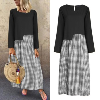 ZANZEA Women Casual Long Maxi Dress Cotton Linen Patchwork Plaid Check Sundress Vintage Female 2020 Summer Dresses Beach Robe isiksus striped maxi dress shirt women vintage female long sleeve summer casual dresses black beach dress for women dr092