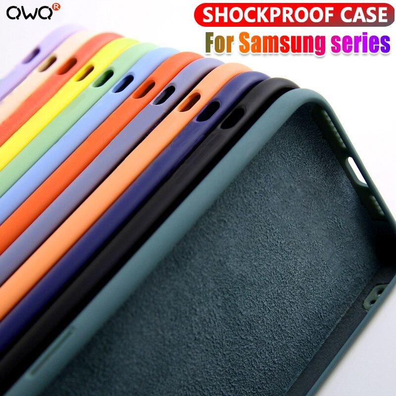 Vloeibare Siliconen Case Voor Samsung Galaxy A51 A71 A50 A70 A10 A20 S20 Plus Solid Candy Note 8 9 10 s8 S9 S10 Plus Shockproof Cover