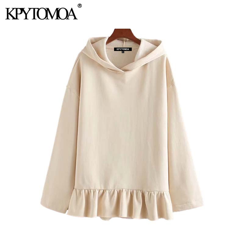 Vintage Sweet Ruffles Loose Hooded Sweatshirts Hoodies Women 2020 Fashion Long Sleeve Solid Female Pullovers Chic Tops