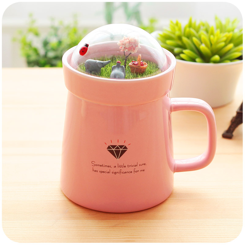Creative Cartoon Animal Micro Landscape Caneca Milk and Coffee Mug 400mlHigh-capacity Office Ceramic Cups BeautyGifts <font><b>CoffeeCup</b></font> image