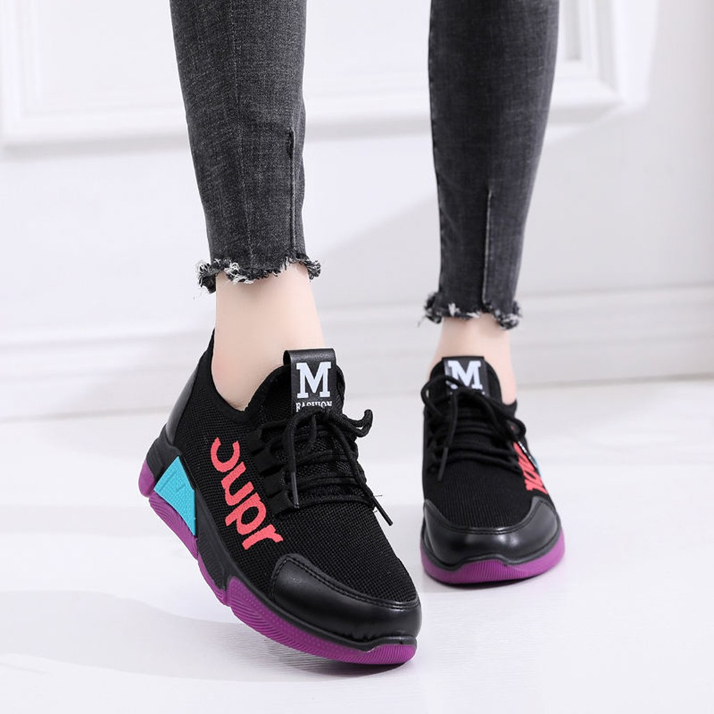 Women Sports Sneakers Lightweight Mesh Flats Breathable Casual Running Trainers