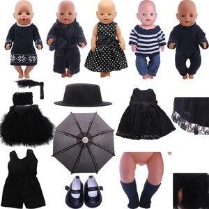 Черная Серия комплект из юбки со свитером модная подгонка 18-дюймовые американская кукла и 43 см для ухода за ребенком для мам, гиперреалистич...