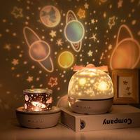 Estrella noche luz proyector LED proyección lámpara 360 grados rotación 6 películas de proyección para niños dormitorio hogar fiesta Decoración