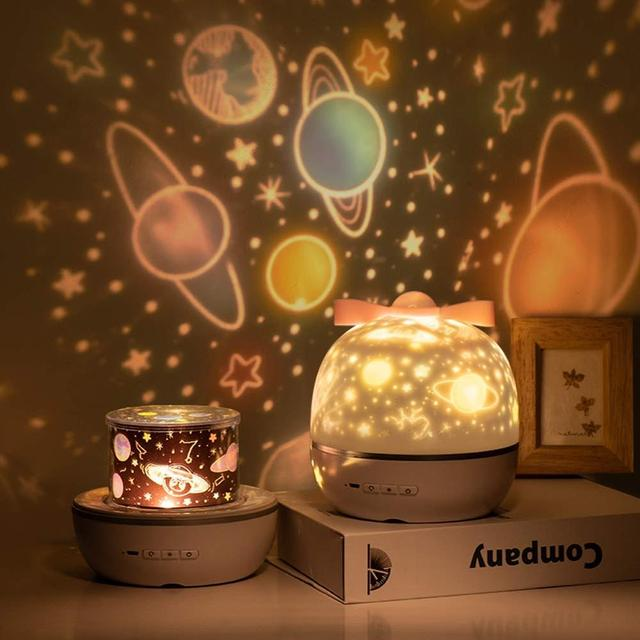 Star Night Light Projector LED Projection Lamp 360 Degree Rotation 6 Projection Films for Kids Bedroom Home Party Decor 1