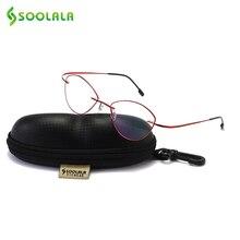 SOOLALA женские и мужские титановые очки для чтения без оправы из нержавеющей стали, высококачественные легкие очки для чтения с чехлом + 1,0 3,5