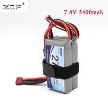 Zdf atualização de energia para 7.4 v 5400 mah (2 pces * 2700mah 7.4 v 20c) 40c 2 s lipo bateria t plug para wltoys 12428 12423 rc peças de carro