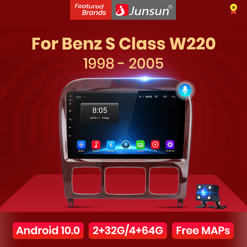 Junsun V1 pro Android 10 для Mercedes Benz S Class W220 S280 S320 S350 S400 S430 S500 S600 1998 - 2005 автомобильное радио мультимедийный DVD