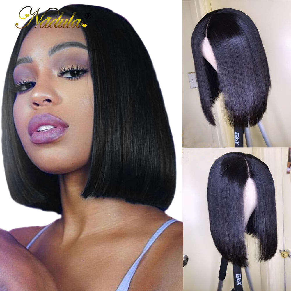Nadula Hair 13x4/13x6 Lace Front Wig Remy Straight Human Hair Wigs For Women Pre Plucked With Baby Hair Short Bob LaceFront Wig
