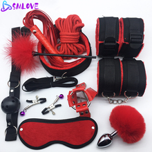 SMLOVE Sex Handcuffs Collar Whip Gag Nipple Clamps BDSM Bondage Rope Erotic Adul