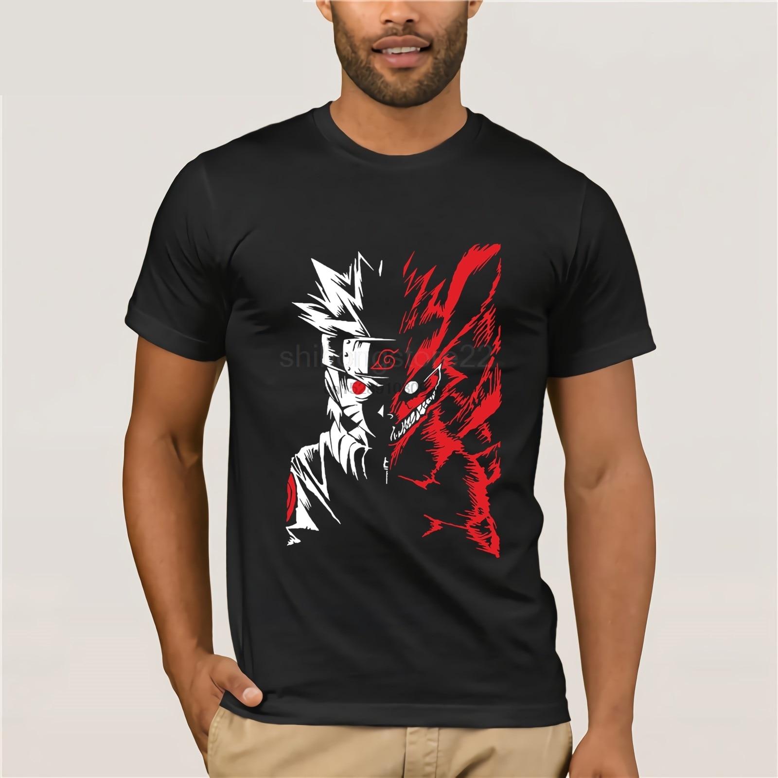 100% Cotton O-neck printed T-shirt Naruto and Nine tail T-Shirt