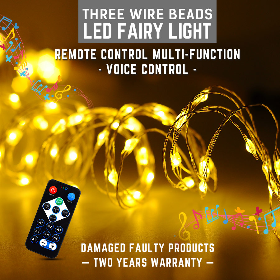 145CM LED Fairy Light Music Control Remote Control Multifunction Led String Light Lamp 6*20LEDS Waterproof Holiday Christmas LED