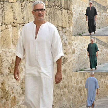 Mens Arabic Long Robes Saudi Arabia Jubba Thobe Kaftan Middle East Islamic Clothing Muslim Fashion Arab Abaya Dubai Dress