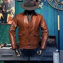 YR!Free shipping.soft 1.0MM goatskin jacket,men classic casual cossack style coa
