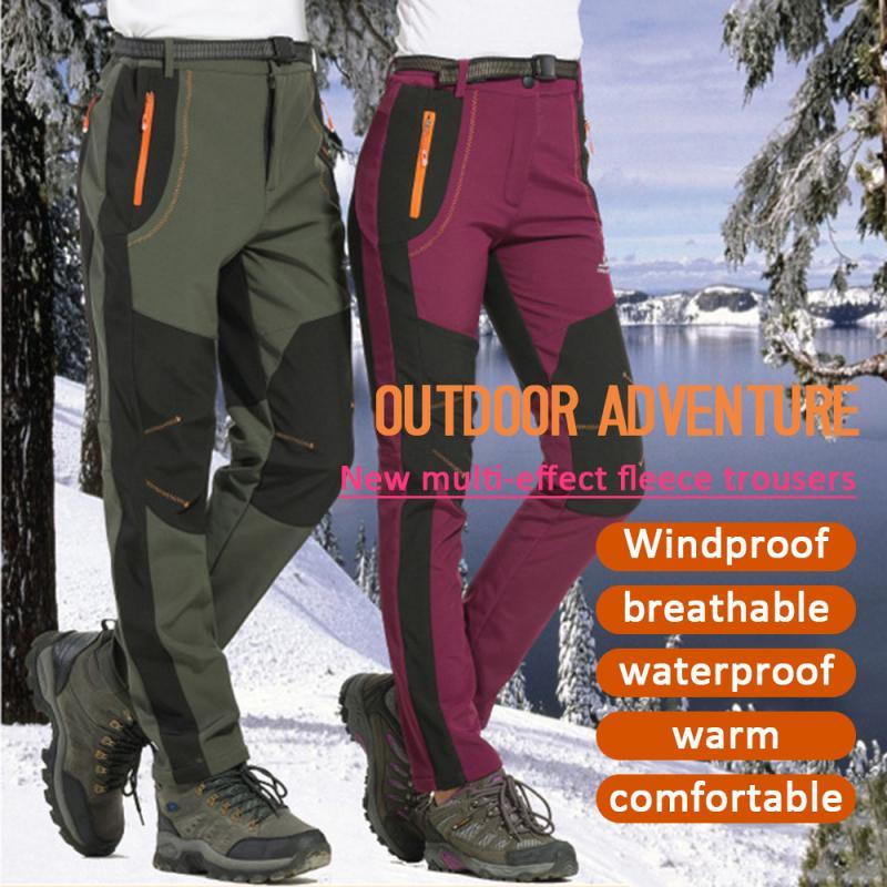 Winter Fleece Pants Men Trekking Waterproof Fishing Pants Camping Running Hiking Pants Warm Trousers Women Windproof Sportswear