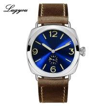 Montre Lugyou San Martin Vintage Bronze forme oreiller brillant Quartz 200m étanche Holvin bracelet en cuir 40MM sous cadran lumineux