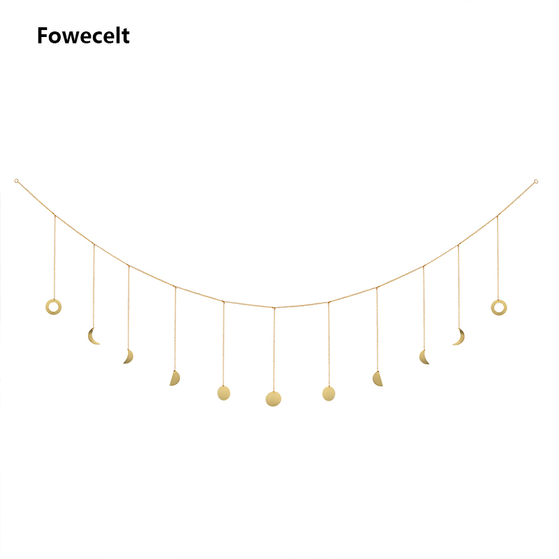 Fowecelt Boho Moon Phase Wall Hanging Decor Wind Chime For Girls Room Bedroom Wall Decorations Aesthetic Accessories Wind Chimes Hanging Decorations Aliexpress