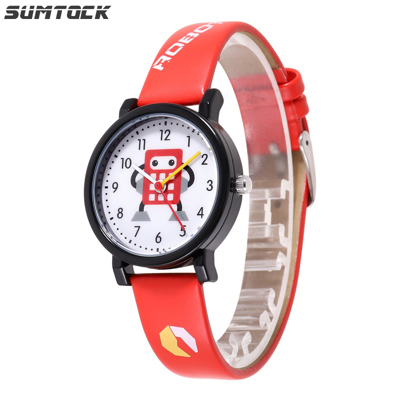 SUMTOCK Student Boys Girl Kids Watch Cartoon Robot Cute Dial Water Resistant Shock Resistant Watches Birthday Party Gift Clock