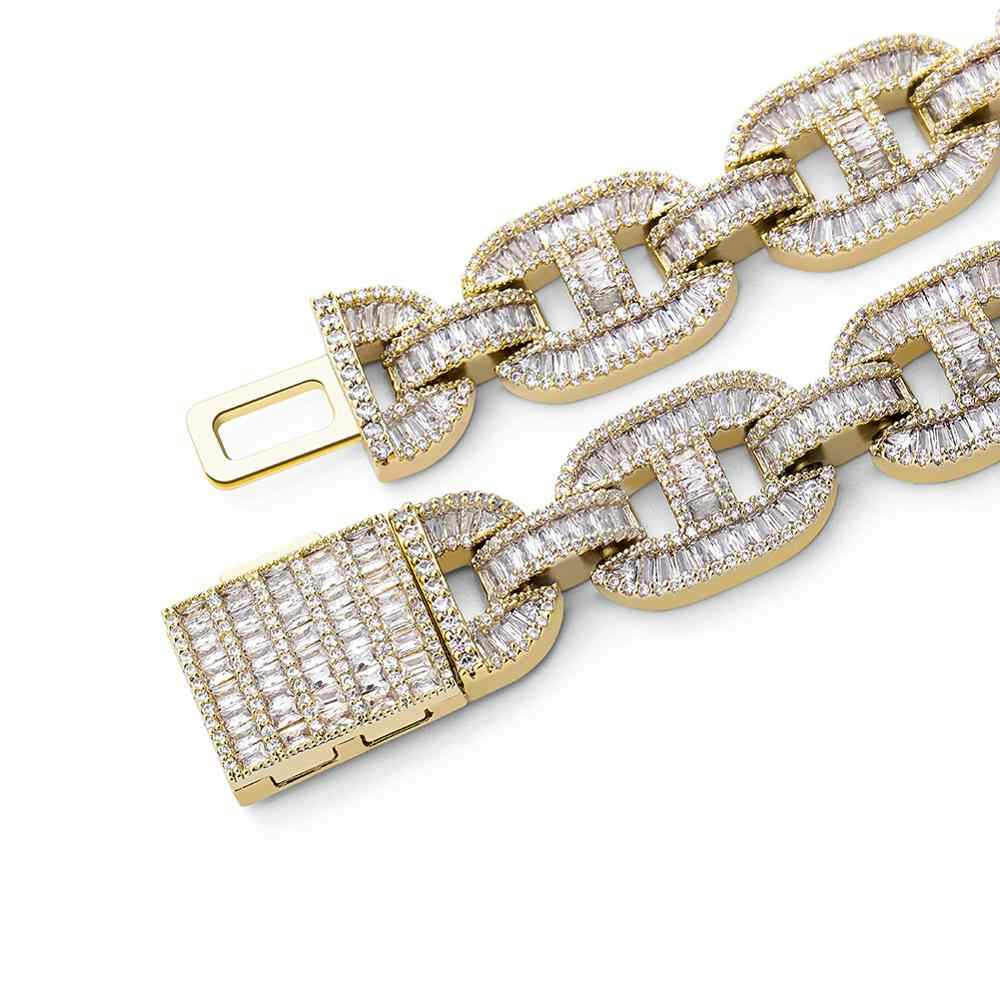 Topgrillz Miami 14Mm Kotak Besar Gesper Kuba Link Kalung Pesona Emas Perak Berlapis Es Keluar Baguette Zircon Pria hip Hop Perhiasan