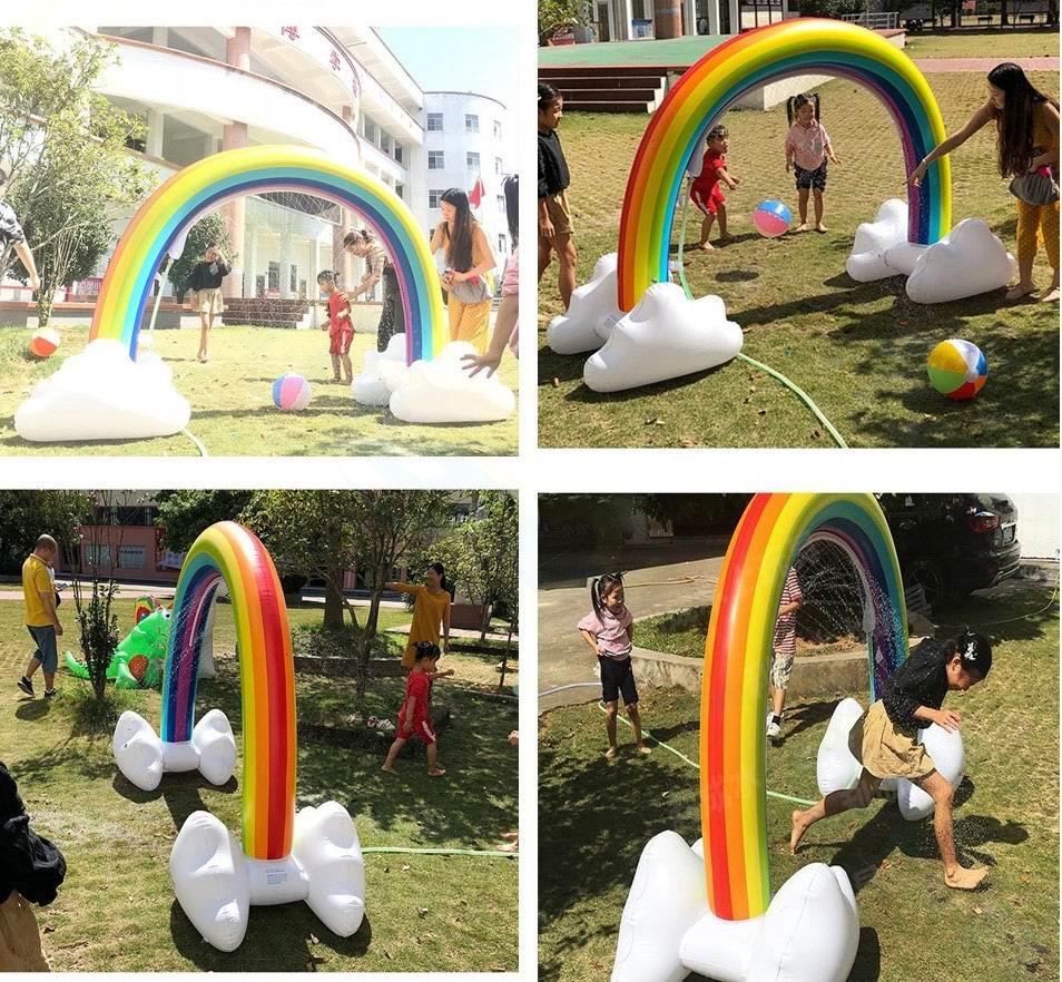 Adult Rainbow Bridge Arch Water Splash Play Water Mat Inflatable Spray Water Cushion  Kids Lawn Games Pad Sprinkler Play Toys