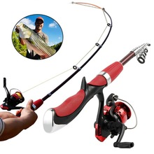 Telescopic Fishing Rod Combo and Reel Full Kit Spinning Fishing Reel Gear Pole Set Mini Spinning Reels Fishing Tackle Set new lure rod set spinning rod fishing reel combos full kit 1 8m 3 0m fishing rod pole reel line lures hooks portable bag
