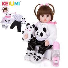 KEIUMI Großhandel 18 Neugeborenen Silikon Menina Reborn Baby Puppe Nette Panda Cartoon Bebê kinder Tag Geschenke mit 3 stücke haar Clip