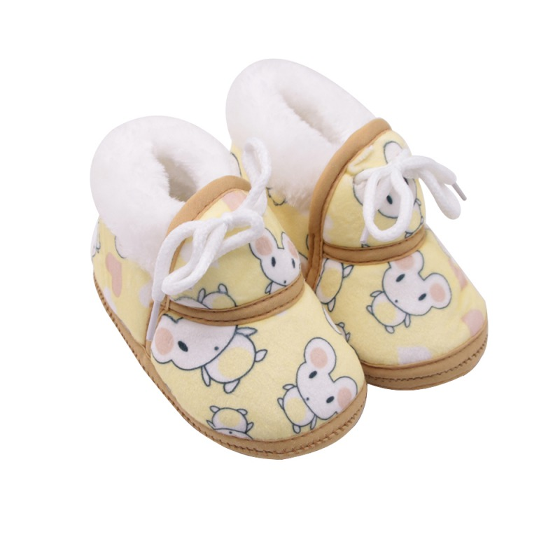 2020 Winter Newborn Girls Boys Cute Cartoon Mouse Print Non-slip Warm First Walkers Toddler Infant Lace-Up Shoes 0-12M