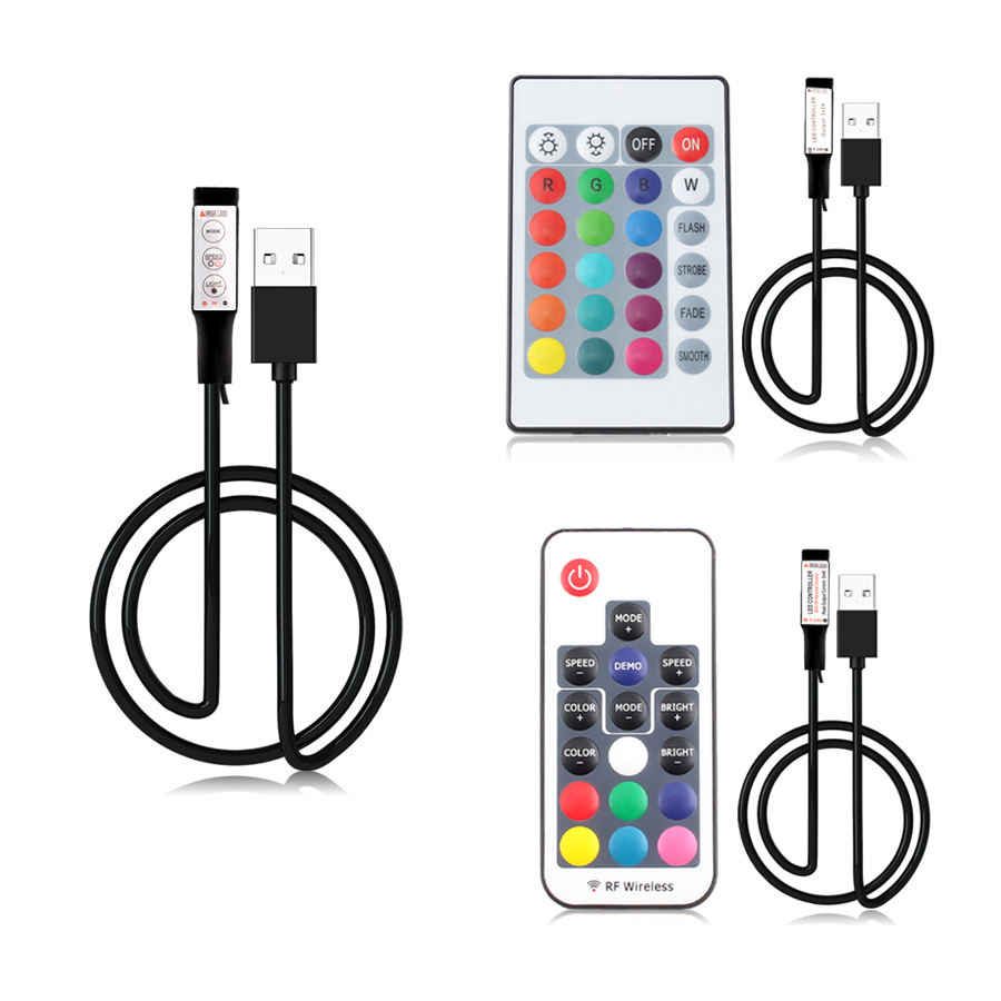 USB Led Strip Lights 5 12 24 V Volt RGB USB IR RF Remote Controller 5V 12V 24V USB LED Strip Light 3 17 24 Key  Remote Wireless