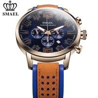 SMAEL Chronograph Leather Mens Watches Quartz Luminous Hands 24 hour Sport Analogue Leather Wristwatch for Men Relogio Masculino|Quartz Watches|   -