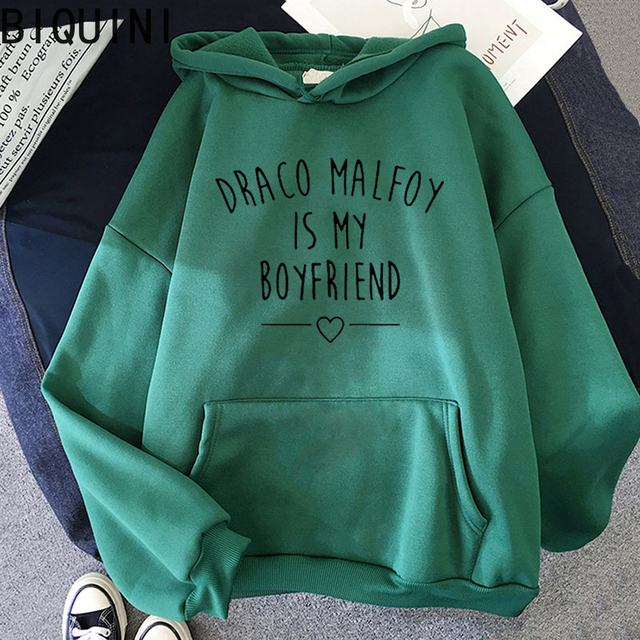 Draco Malfoy Is My Boyfriend Letter Print Sweatshirts Harajuku Hoodies Women 2021Spring Casual Fashion Streetwear Wram Pink Tops 3