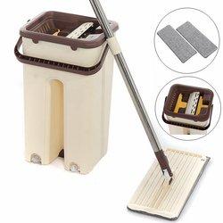 Płaskie wycisnąć Mop i wiadro Hand Free wyżymnym Mop do czyszczenia podłogi na mokro i na sucho zastosowanie automatyczne wirowania samoczyszcząca się narzędzia leniwy Mop w Mopy od Dom i ogród na