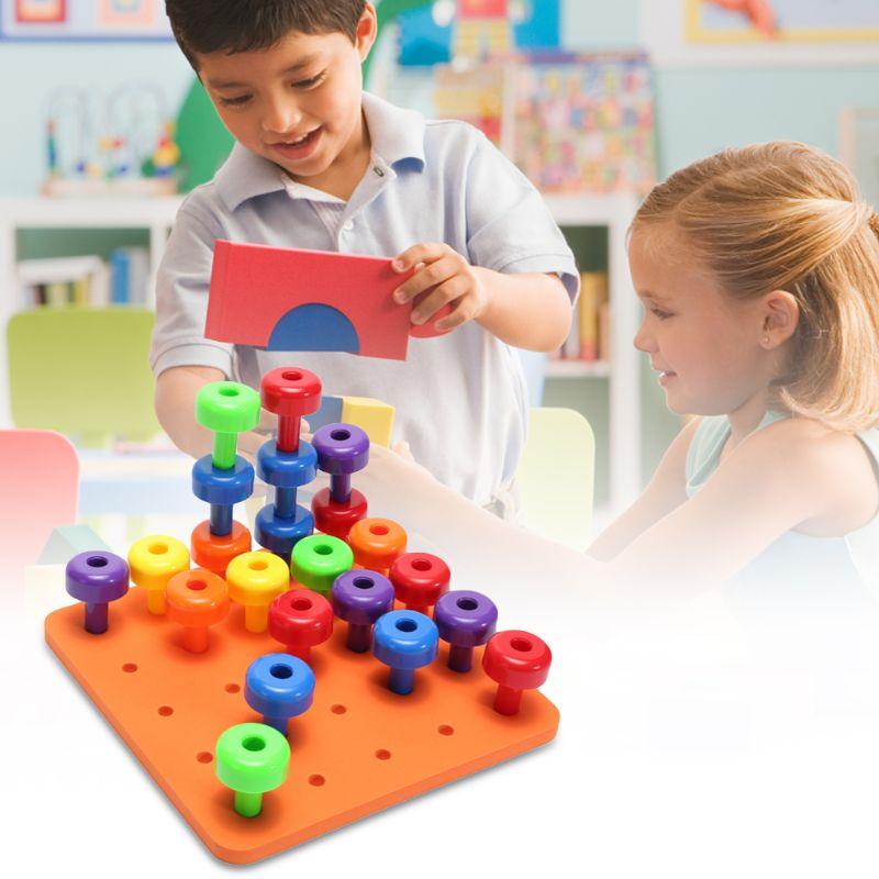 Wooden Peg Board Set Children Classification Toys Fine Motor Skills Kids Baby Preschool Activities Educational Building Blocks