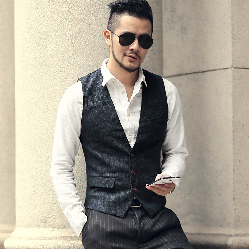 Men's Vest Army Green Slim Fit V Neck Casual Waistcoat Slim Fit Suit Vest Herringbone Tweed Wool Tuxedo Vest For Wedding