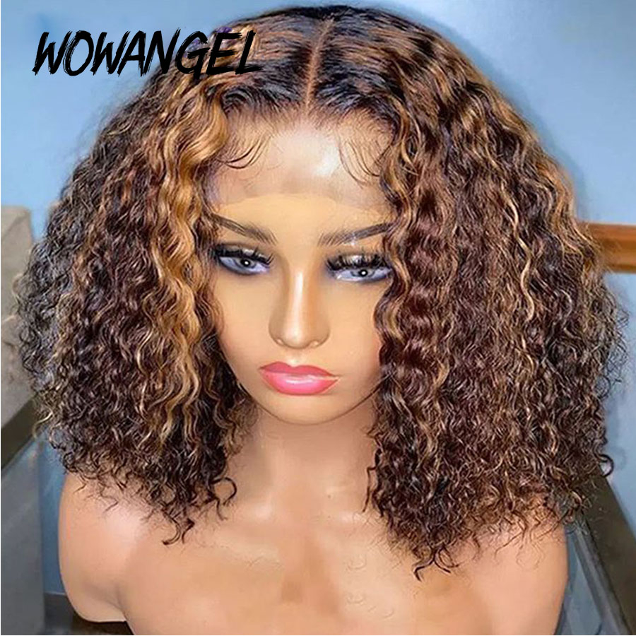 Short Curly Bob 4x4 Lace Closure <font><b>Wig</b></font> <font><b>250</b></font> <font><b>Density</b></font> <font><b>Wig</b></font> Highlight Mongolian Kinky Curly Ombre Bob <font><b>Wig</b></font> <font><b>Human</b></font> <font><b>Hair</b></font> Closure <font><b>Wigs</b></font> Remy image